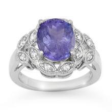 4.25 ctw Tanzanite & Diamond Bridal Engagement Anniversary Ring 10K White Gold, Size 6.5  - REF#82R1T