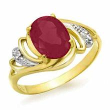 2.25 ctw Ruby & Diamond Bridal Engagement Anniversary Ring 14K Yellow Gold, Size 7.5  - REF#17X9V