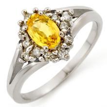 0.95 ctw Yellow Sapphire & Diamond Bridal Engagement Anniversary Ring 10K White Gold, Size 6  - REF#22G9H