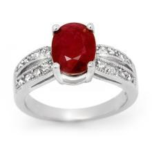 3.02 ctw Ruby & Diamond Bridal Engagement Anniversary Ring 14K White Gold, Size 7  - REF#35K5Z