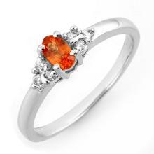 0.44 ctw Orange Sapphire & Diamond Bridal Engagement Anniversary Ring 10K White Gold, Size 7  - REF#13N8M