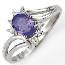 0.7 ctw Tanzanite & Diamond Bridal Engagement Anniversary Ring 10K White Gold, Size 6  - REF#13F2G