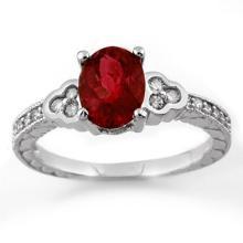 2.27 ctw Rubellite & Diamond Bridal Engagement Anniversary Ring 14K White Gold, Size 6.5  - REF#46V2N