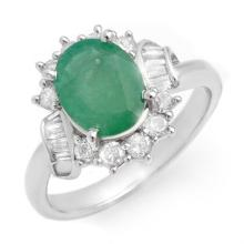 2.64 ctw Emerald & Diamond Bridal Engagement Anniversary Ring 18K White Gold, Size 6.75  - REF#62T1Y