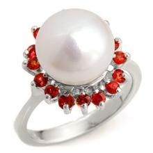 0.75 ctw Red Sapphire Bridal Engagement Anniversary Ring 18K White Gold, Size 7.25  - REF#39F7G