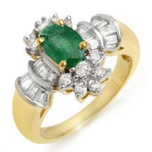 1.75 ctw Emerald & Diamond Bridal Engagement Anniversary Ring 14K Yellow Gold, Size 6.5  - REF#52G5H
