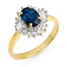 1.72 ctw Blue Sapphire & Diamond Bridal Engagement Anniversary Ring 10K Yellow Gold, Size 6.5  - REF#24H9J