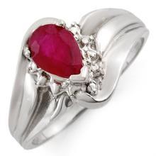 0.77 ctw Ruby & Diamond Bridal Engagement Anniversary Ring 18K White Gold, Size 6.5  - REF#26F4G