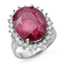 12 ctw Ruby & Diamond Bridal Engagement Anniversary Ring 18K White Gold, Size 7.5  - REF#94Z4X