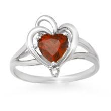0.87 ctw Garnet & Diamond Bridal Engagement Anniversary Ring 10K White Gold, Size 6  - REF#9X5V