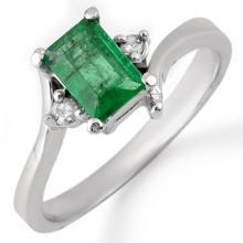 0.6 ctw Emerald & Diamond Bridal Engagement Anniversary Ring 10K White Gold, Size 6  - REF#11N8M