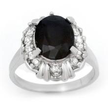 3.83 ctw Blue Sapphire & Diamond Bridal Engagement Anniversary Ring 18K White Gold, Size 6.5  - REF#50Y2P