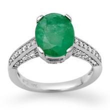 3.2 ctw Emerald & Diamond Bridal Engagement Anniversary Ring 14K White Gold, Size 6.75  - REF#40K4Z