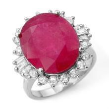 13.12 ctw Ruby & Diamond Bridal Engagement Anniversary Ring 18K White Gold, Size 6.75  - REF#108R1T