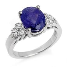 3.5 ctw Tanzanite & Diamond Bridal Engagement Anniversary Ring 14K White Gold, Size 6.5  - REF#73V2N