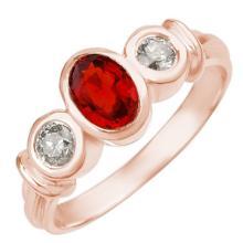 1.05 ctw Red Sapphire & Diamond Bridal Engagement Anniversary Ring 14K Rose Gold, Size 7  - REF#33H5J