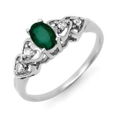 0.57 ctw Emerald & Diamond Bridal Engagement Anniversary Ring 18K White Gold, Size 7  - REF#21Y7P