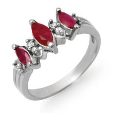 1 ctw Ruby & Diamond Bridal Engagement Anniversary Ring 18K White Gold, Size 6.5  - REF#28X1V