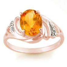 2.04 ctw Citrine & Diamond Bridal Engagement Anniversary Ring 14K Rose Gold, Size 7.5  - REF#17W6R