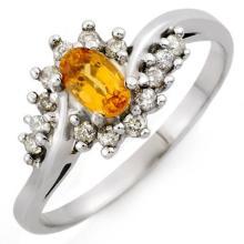 0.55 ctw Yellow Sapphire & Diamond Bridal Engagement Anniversary Ring 18K White Gold, Size 6.75  - REF#28V5N