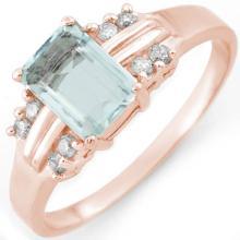 1.41 ctw Aquamarine & Diamond Bridal Engagement Anniversary Ring 18K Rose Gold, Size 6.5  - REF#27H3J