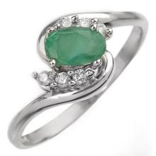 0.6 ctw Emerald & Diamond Bridal Engagement Anniversary Ring 18K White Gold, Size 6.5  - REF#23M5W