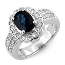 3.25 ctw Blue Sapphire & Diamond Bridal Engagement Anniversary Ring 18K White Gold, Size 6.5  - REF#79X8V