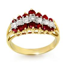 1.06 ctw Ruby & Diamond Bridal Engagement Anniversary Ring 10K Yellow Gold, Size 7  - REF#22Y6P