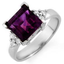 3.2 ctw Amethyst & Diamond Bridal Engagement Anniversary Ring 18K White Gold, Size 6.5  - REF#37P8F