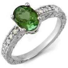 2.68 ctw Green Tourmaline & Diamond Bridal Engagement Anniversary Ring 14K White Gold, Size 6.75  - REF#42T5Y