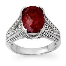 4.75 ctw Rubellite & Diamond Bridal Engagement Anniversary Ring 14K White Gold, Size 7  - REF#105P4F
