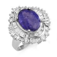 6 ctw Tanzanite & Diamond Bridal Engagement Anniversary Ring 18K White Gold, Size 6.5  - REF#213G1H