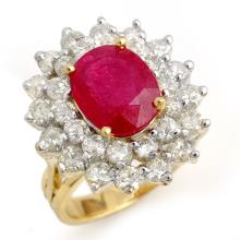 8 ctw Ruby & Diamond Bridal Engagement Anniversary Ring 14K Yellow Gold, Size 7.5  - REF#170V5N