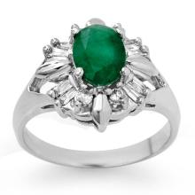 1.75 ctw Emerald & Diamond Bridal Engagement Anniversary Ring 14K White Gold, Size 7.5  - REF#40V9N