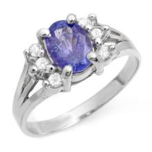 1.43 ctw Tanzanite & Diamond Bridal Engagement Anniversary Ring 18K White Gold, Size 6  - REF#36M6W