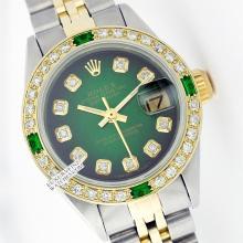 Rolex Ladies 2Tone 14K Gold/ Stainless Steel, Diam Dial & Diam/Emerald Bezel, Saph Crystal - REF#321N8J
