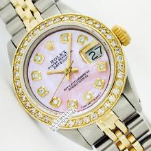 Rolex Ladies 2Tone 14K Gold/ Stainless Steel, Diamond Dial & Diamond Bezel, Saph Crystal - REF#316A4M