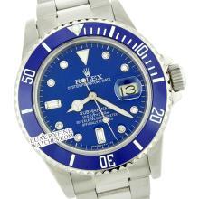 Rolex Men's Submariner, QuickSet, Diam Dial w/ Rotatable Blue Insert Bezel - REF#632F7W