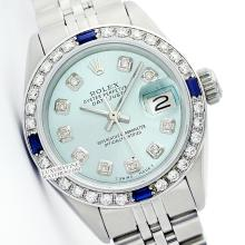 Rolex Ladies Stainless Steel, Diam Dial & Diam/Sapphire Bezel, Saph Crystal - REF#338V2H