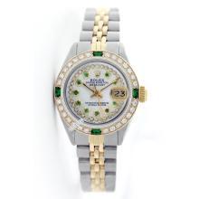 Rolex Men's 2Tone 14K Gold/ SS, QuickSet, Diam/Emerald Dial & Diam/Emerald Bezel - REF#474Z5F