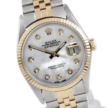 Pre-owned Excellent Condition Authentic Rolex Quickset Men's 18K/Stainless Steel DateJust Mother of Pearl Dial Watch - REF#-310Z4T