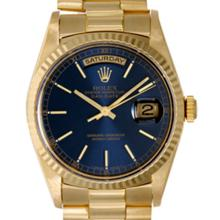 Pre-owned Excellent Condition Authentic Rolex Quickset Men's 18K Yellow Gold Day-Date Blue Dial Watch - REF#-960G4N