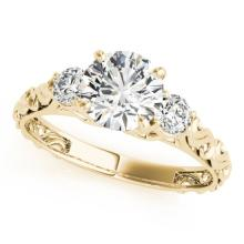 Genuine 1.25 CTW Certified Diamond 3 Stone Bridal Ring 18K Yellow Gold - 28046-REF#272R9Z