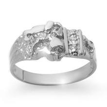Natural 0.01 ctw Diamond Men's Ring 10K White Gold - 12518-#16N8F