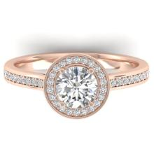 Genuine 1.10 CTW Certified Diamond Solitaire Engagement Micro Halo Ring 18K Gold - 32610-REF#164W3K