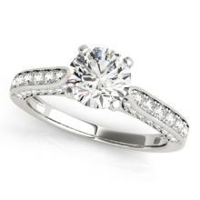Genuine 1.10 CTW Certified Diamond Solitaire Bridal Ring 18K White Gold - 27519-REF#122V3F