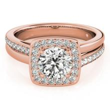 Genuine 1.33 CTW Certified Diamond Bridal Solitaire Halo Ring 18K Rose Gold - 26842-REF#299T3X