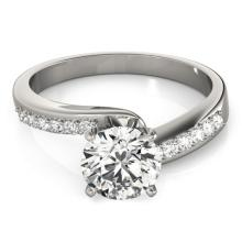 Genuine 0.91 CTW Certified Diamond Bypass Solitaire Bridal Ring 18K White Gold - 27675-REF#153H2R