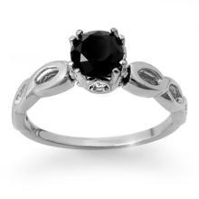 Genuine 1.45 ctw Black & White Diamond Solitaire Ring 18K White Gold - 11813-#50N2F