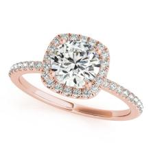 Genuine 1.50 CTW Certified Diamond Bridal Solitaire Halo Ring 18K Rose Gold - 26204-REF#331H8R